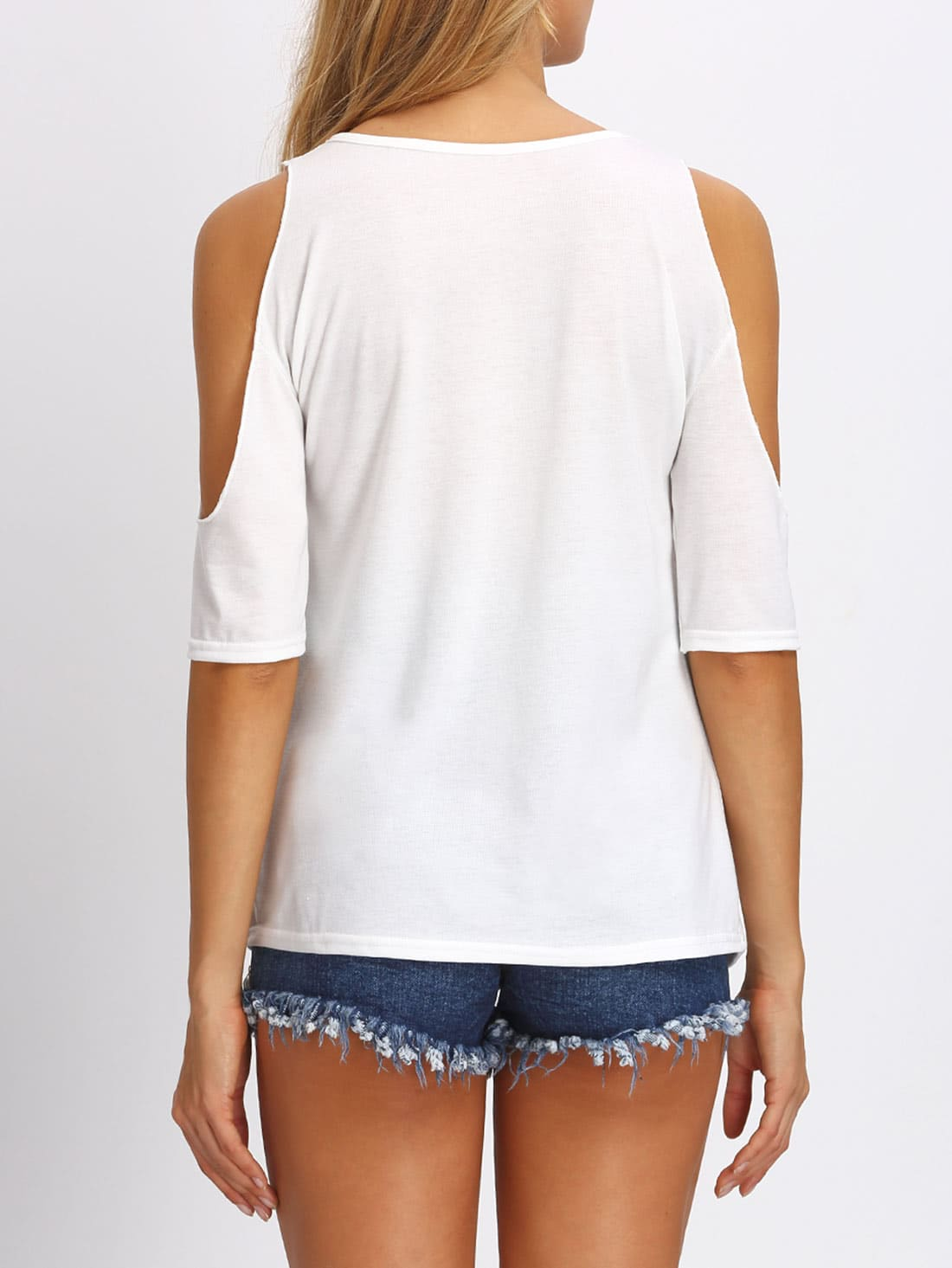 White Open Shoulder Letters Print T-shirt
