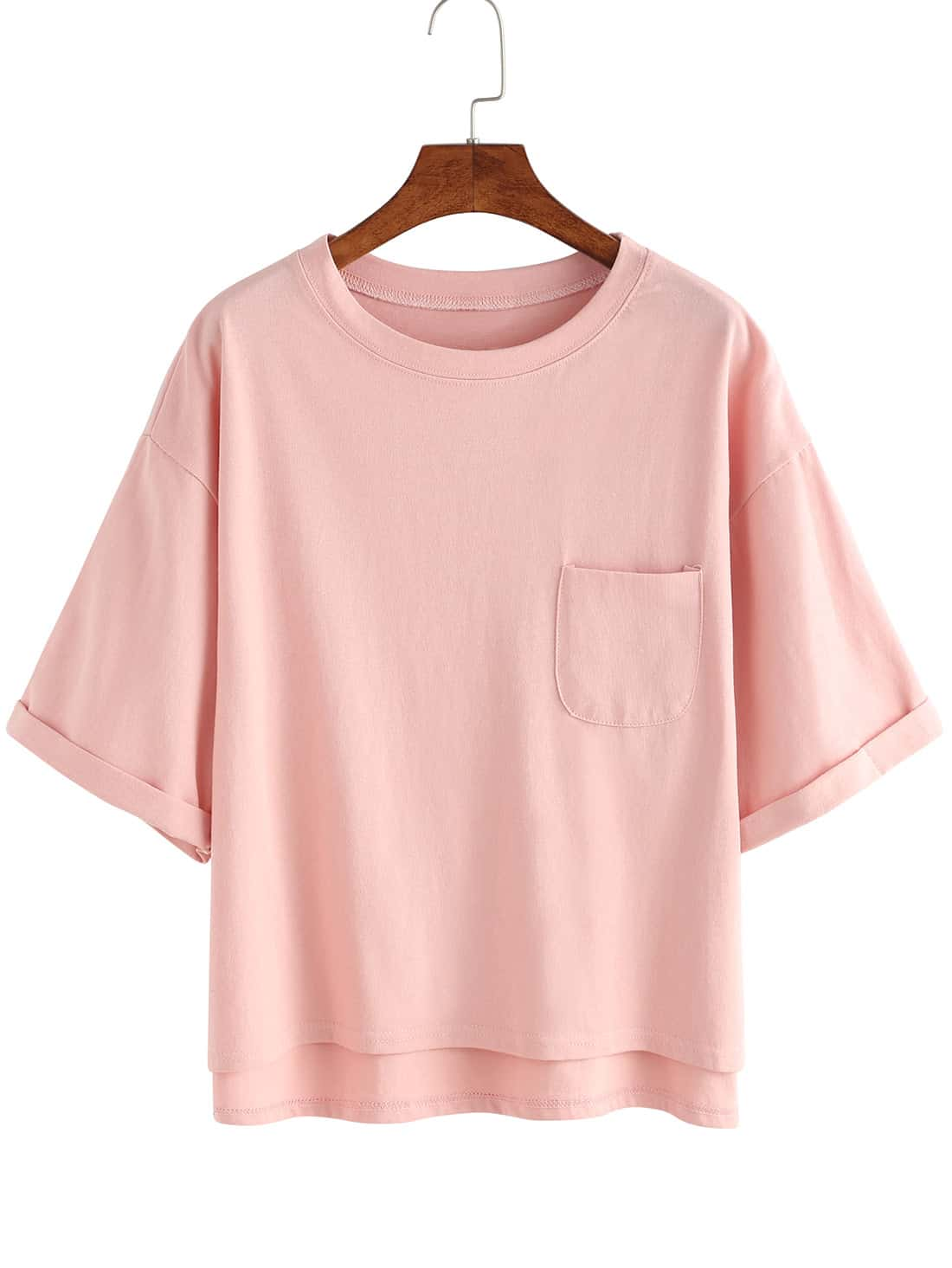 Фото - Dip Hem Cuffed T-shirt With Chest Pocket striped knotted front cuffed shirt with chest pocket