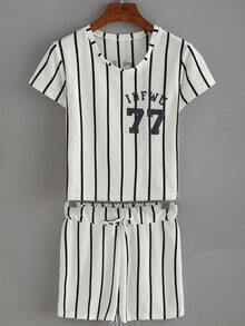 Vertical Striped Number Print Top With Draw Cord Waist Shorts