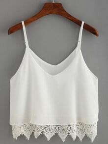 White Lace Crochet Scalloped Hem Cami Top