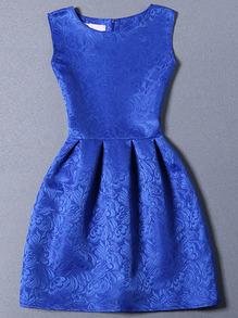 Blue Sleeveless Jacquard A-Line Dress