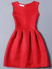 Red Sleeveless Jacquard A-Line Dress
