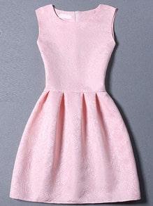 Pink Sleeveless Jacquard A-Line Dress