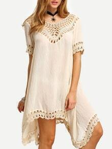 Apricot Crochet Hollow Out Asymmetrical Dress