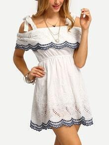 Cold Shoulder Embroidered Hollow Out Dress