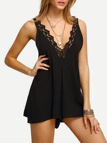 Deep V Neck Lace Insert Romper