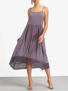 Lace Trimmed Pleated Purple Cami Dress