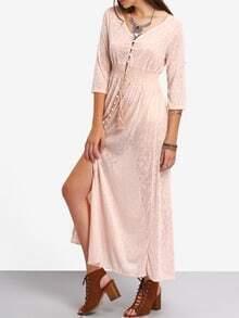 V-Neck Button Front Shirred Waist Long Dress