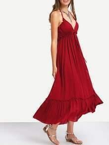 Burgundy Halter High Waist Tiered Long Dress
