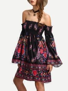 Off-The-Shoulder Flare Sleeve Shirred Dress