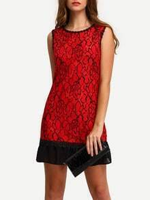 Contrast Hem Lace Sheath Dress