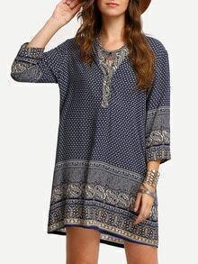 V Neck Paisley Print Dress