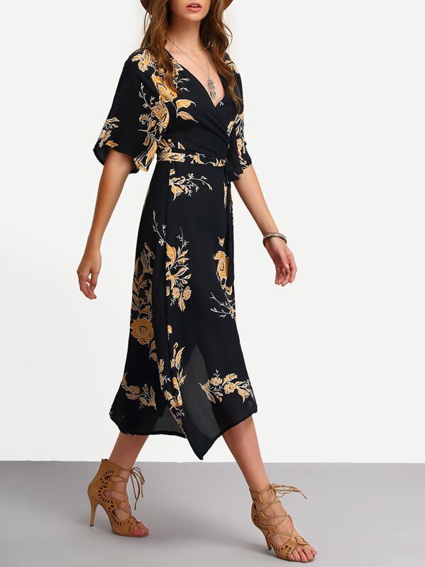 Surplice Front Florals Wrap Dress, Luiza