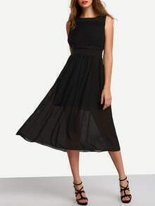 Black Ruched Chiffon Dress With Belt