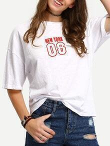White Dropped Shoulder Seam Number Print T-Shirt