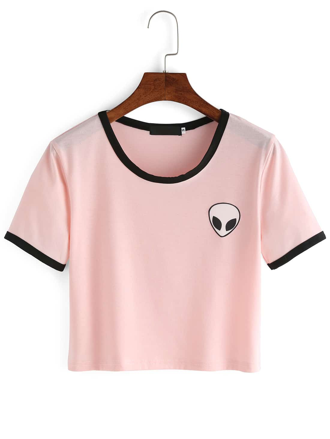 Фото Crew Neck Alien Print Crop T-Shirt. Купить с доставкой