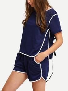 Blue Round Neck Top With Shorts