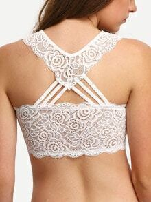 White V Neck Y-Back Lace Lingerie