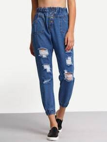 Blue Single Breasted Ripped Denim Pant