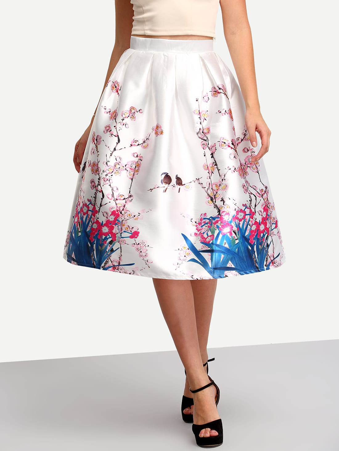 floral high waist a line skirt shein sheinside
