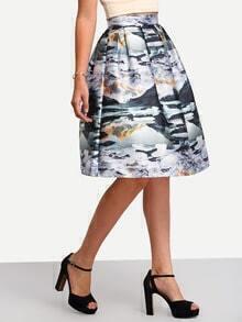 Multicolor High Waist Print Flare Skirt