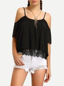 Black Cold Shoulder Lace Insert Shirt