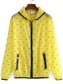 Hooded Zipper Dog Print Jacket