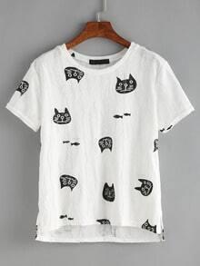 Cat Print Dip Hem T-shirt