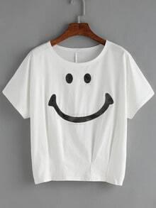 Smile Bead Folds White T-shirt