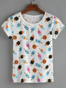 Lollipops Print T-shirt