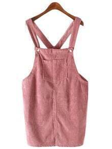 Pink Pockets Corduroy Straps Dress