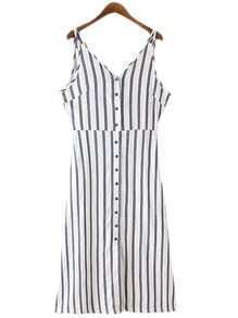Blue White Stripe Buttons Front Spaghetti Strap Dress
