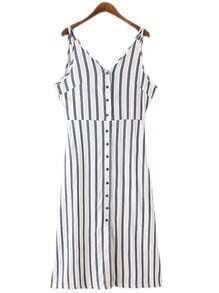 Blue White Stripe Buttons Front Spaghetti Strap Dress