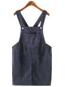 Dark Blue Pockets Corduroy Straps Dress