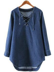 Blue Long Sleeve Lace Up Front Denim Dress