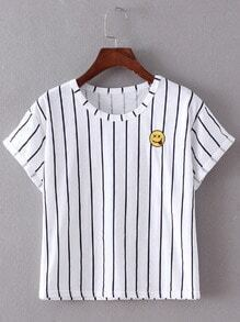 Navy Vertical Stripe Smiling Face Embroidery T-shirt