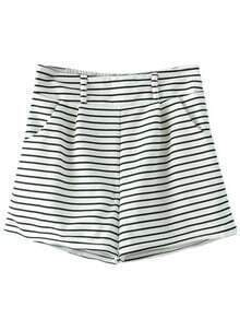 Black White Stripe Pockets High Waist Shorts