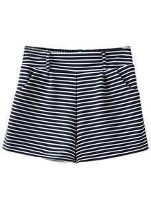 Navy White Stripe Pockets High Waist Shorts