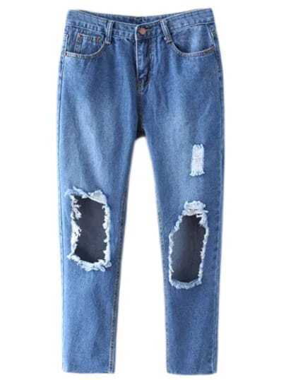 Blue Ripped Hole Skinny Denim Pants