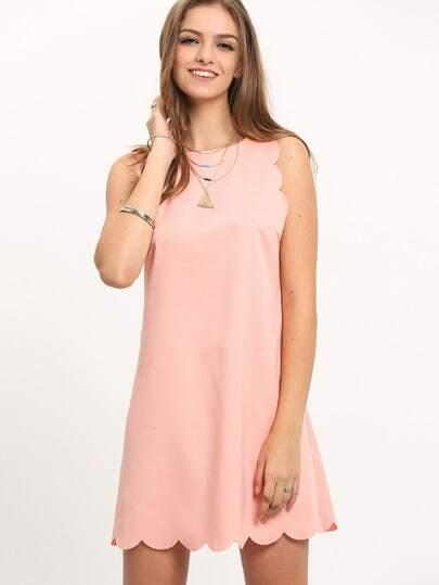 Pink Scallop Trim Sleeveless Shift Dress