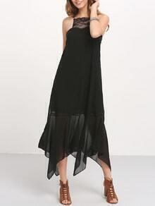 Black Spaghettic Strap Tassel Tie Back Maxi Dress