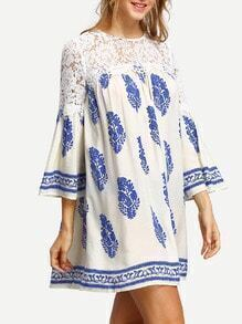 Blue Croceht Lace Print Casual Dress
