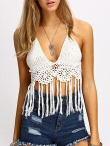 White Halter Neck Tassel Trim Knit Lingerie