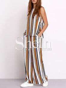 Vertical Stripe Sleeveless With Long Pants