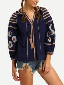 Blue Lantern Sleeve Lace Up Embroidered Top