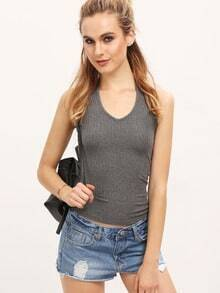 Grey Jersey Halter Neck Cami Top