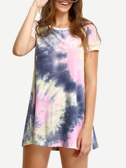 Multicolor Ink Print Short Sleeve Casual Shirt Dress