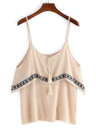 Spaghetti Strap Lace Up Embroidered Cami Top