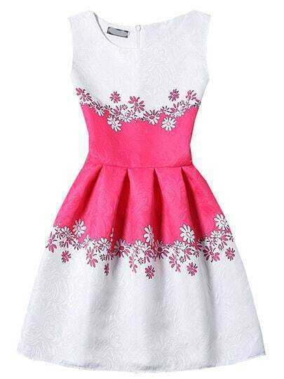 Sleeveless Flower Print Jacquard A-Line Dress
