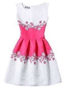 Sleeveless Flower Print Jacquard A-Line Dress